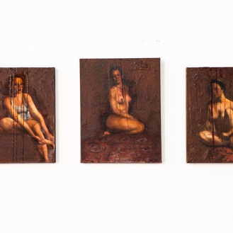 For blood and honey, oil painting, rust, glass paint, 2008, 201