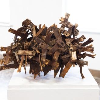 Das verlassenes Nest, rusted corrugated iron, white paint, 2013