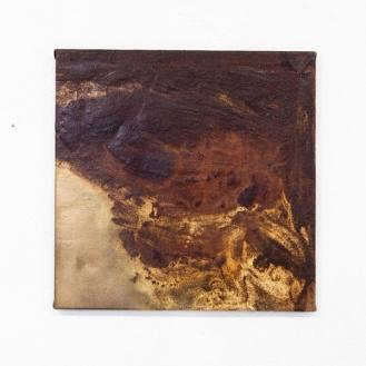 Untitled, rust, gold, 50 x 50cm, 2013