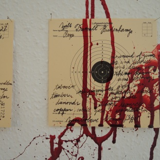 In the name of... 50 shooting targets, glass paint, varies, 2013