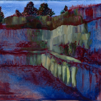 Untitled-Quarry Series – oil painting and Pelikan duplicating ink from the 1940's on linen, 30cm x 24cm, 2012