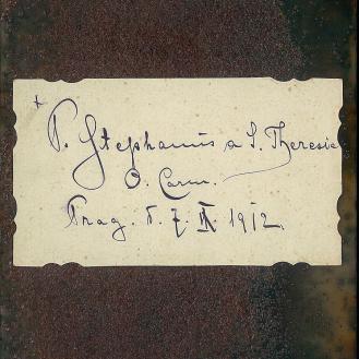 Antique polaroid glass, ink, rust, back of devotional card, 14 x 21cm, 2013