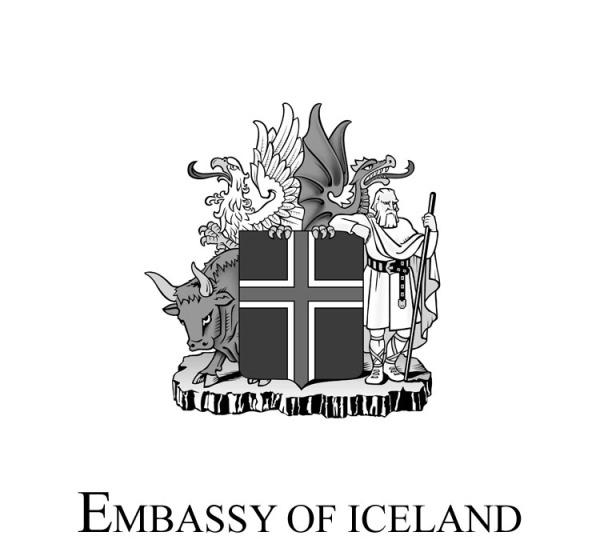 Logo-Botschaft von IslandSW - eng