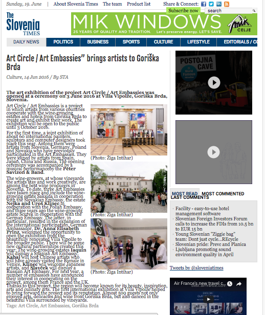 Slovenian Times – Art Circle – June 14, 2016