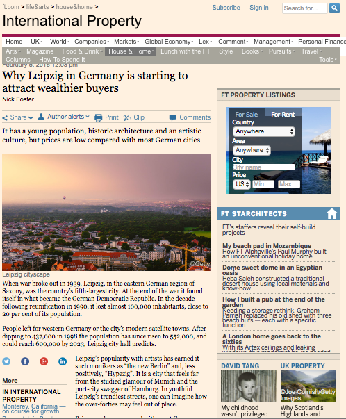 Financial Times Interview – Why Leipzig in Germany is starting to attract wealthier buyers