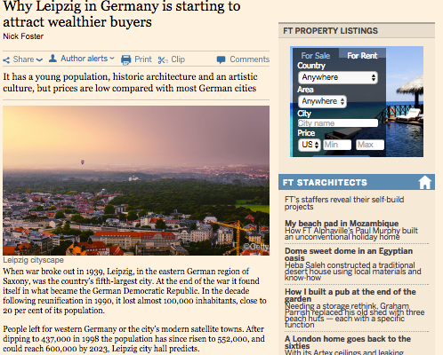 Financial Times Interview – Why Leipzig in Germany is starting to attract wealthierbuyers