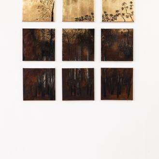 After Rousseau, India ink, rust, gold leaf, oil paint, 50 x 50cm, 9 – 12 panels, 2013