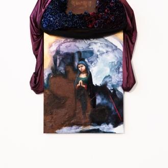 Die jungen Frau, shellac ink, oil paint, rust, 400 plastic roses, fabric, varies, 2013