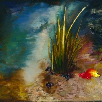 River grass, oil, epoxy resin on linen