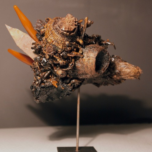 Untitled, bamboo roots, epoxy resin, rusted iron, test tubes, 2015