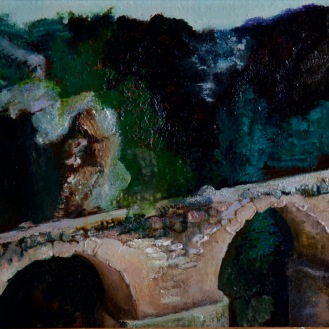 """All Empires Fall,"" Chelva, Spain, collapsing Roman aqueduct, oil on linen, 49 x 24cm, 2019"